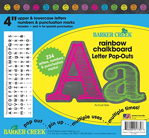 Barker Creek – Office Products 4-Zoll Poster Buchstaben und Bulletin Board Buchstabe pop-outs Regenbogen-Kreide (Kreide Board Und Bulletin Board)