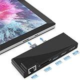 Surfacekit Surface Pro 5/6 Concentrador USB de con Puerto Ethernet 1000M, 4K HDMI, 2 Puertos USB 3.0, Lector de Tarjetas SD/M
