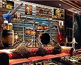YWGBH Carta Da Parati Murales Autoadesivi 3D Photo Wall (W) 200X (H) 150Cm Carta Da Parati Murale Di Grandi Dimensioni Ristorante Bar Hotel Ktv Sfondo Muro Strumento Musicale Europeo Carta Da Parati C