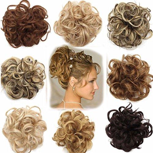 Extension clip capelli veri chignon updo bun ponytail scrunchie parrucchino capelli ricci mossi posticci biondo chiaro a biondo cenere