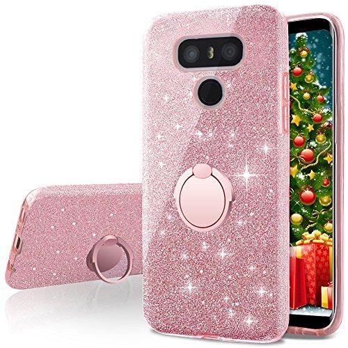 Cover lg g6, miss arts custodia glitter di in morbido tpu con interno in policarbonato ultra resistente, supporto rotazione a 360 gradi per lg g6 / lg g6 plus -oro rosa