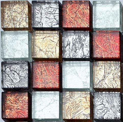 """Piastrelle, mosaico in vetro. colori, motivo: foglie autunnali, colore: rosso, oro, argento e nero. offerta per l """"acquisto di un piccolo, tranne quello prelevato inizialmente (MT0091 sample)"""