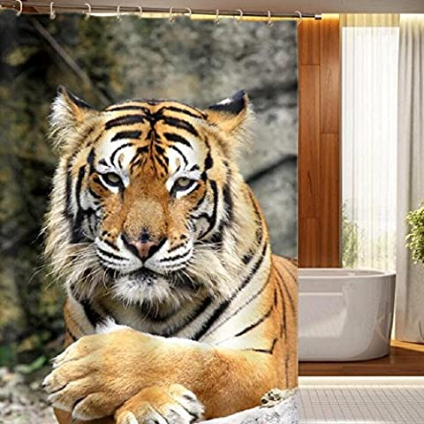 YYH 3D creative print shower curtain photos King of the jungle, the Tiger personality waterproof rain curtain partition size can be customized printed LOGO , wide 180cm* high