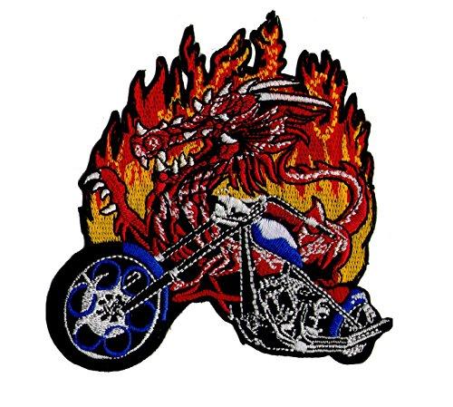 Parche para moteros con bordado de dragón en motocicleta, aplicación con plancha