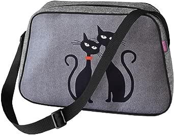 Große Damen Tasche Handtasche Umhängetasche Filz Grau Aufdruck Motiven NESI Black Cat`s