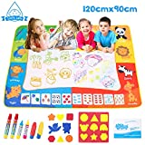 Omew Water Doodle Mat, Water Drawing Painting Mat Larger Size 120 X 90cm Mess-Free Water Magic Mat with 6 Magic Pens, 8 Stamps, 1 Mould and 1 Drawing Booklet for Kids Boys Girls
