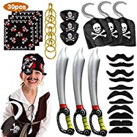 MMTX 30 pcs Pirate Costume Accessory Set for Kids, Pirate Hook, Bandana, Eye Patch, Inflatable Sword, Fake Moustache Fancy Dress up for Halloween Decoration Party