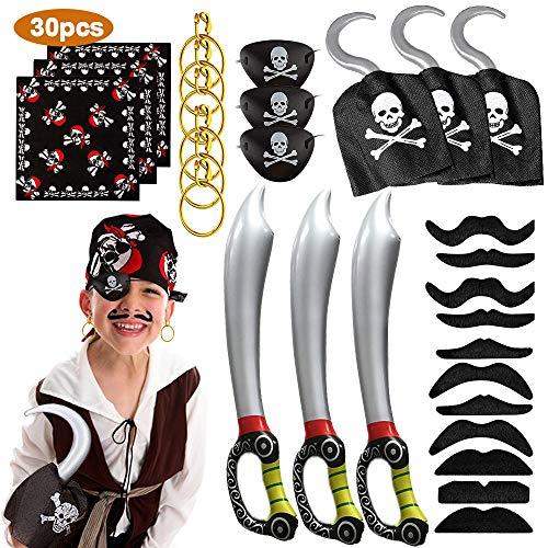 MMTX 30pcs Piraten Zubehör Set Kinder, Piratenhaken, Kopftuch, Augenklappe, Aufblasbares Schwert, Falsche Schnurrbärte Karneval Halloween und Partys