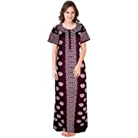 jwf Design Printed Round Neck Cotton Nighty for Ladies Nightwear Full Length Women Night Gown (Multicolor) Yellow
