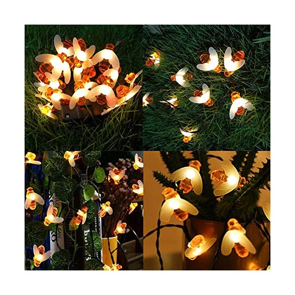 FANSIR Solar String Lights, 8 Modes 30 LED Honey Bee Fairy Lights Solar Powered Waterproof Outdoor String Lights for Garden Patio Yard Summer Party Wedding Indoor Bedroom Decor (Warm White) 5