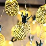 MoKo Ananas String Lights, 5m/16ft 40 LED Wasserdicht Lampe 2 Lighting Modes, Batteriebetrieben Lichterkette für Halloween Weihnachtsferien Hochzeit Geburtstag Party Schlafzimmer Dekoration, Warmweiß