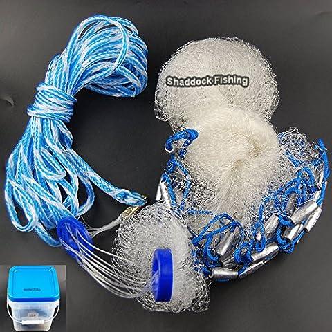 Köder Klar Guss Net 4ft/1,8/2,4m/Ladekabel//° 3/20,3cm Mesh Größe mit echten Gewichte American Salzwasser Angeln Net für Köder Trap Fisch Netzwerk Angeln Tackle Zubehör, 4-Feetx3/8-Inch