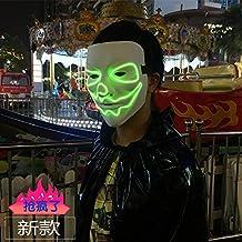 Paquete Mail SunMian Halloween bares KTV casas fantasma terrorista cara de calabaza unisex props creative bricolaje el luminoso y blanco puro máscara V literal (oscuro)