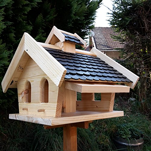Vogelhaus-XXL mit Holzschindeln und Putzklappe lasiert Vogelhäuser-Vogelfutterhaus großes Vogelhäuschen-aus Holz Wetterschutz (Schwarz) - 3
