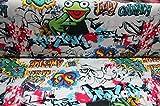 Jersey Graffiti bunt auf weiß / Meterware / Stoff / Kinder