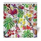 YISUMEI Hem Gewichte Vorhang Duschvorhang Mode Duschvorhänge 120x180 cm Kolibri Vögel Blumen