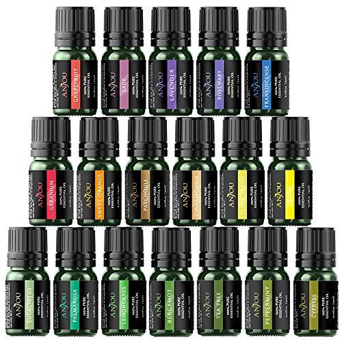 Anjou Ätherische Öle Geschenk-Set 18 x 5 ml (Lavendel, Orange, Pfefferminze, Teebaum, Eukalyptus und mehr) für Diffusor, Luftbefeuchter, Massage, Aromatherapie, Haut-und Haarpflege