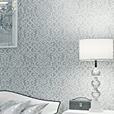Wxl Modern minimalist flocking pearl crocheted non-woven wallpaper 31.8*1.73(ft) (Color : Silver Grey)