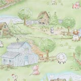 Grüner Stoff mit Kuh Schaf Schwein auf Bauernhof von