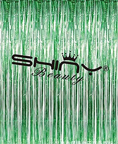 shinybeauty Film Rideau Frange green-3ftx8ft, frange Rideau de porte Rideau fenêtre, film métallique Aluminium/toile (Lot de 2)