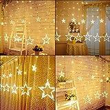 Queta Lichterkette Sternen Lichtervorhang LED Vorhang Lichter Sternenvorhang mit 8 Lichtermodi als Weihnachten oder Party Festen Deko Lichterkette für Innen & Außen (Warmweiß)