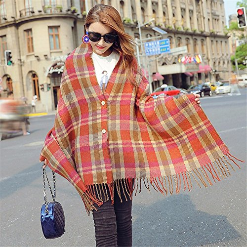 Imitation cashmere femme automne et en hiver avec un bouton multi-fonctionnel écharpe châle chaud épais étudiants plaid écharpe double face rectangle 190cm * 70cm,bleu marine couleur neutre Femmes, fe 2 buttons orange red plaid