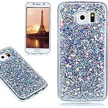 Funda Samsung Galaxy S6, E-Lush Carcasa Acrílico[Crystal] Bling Purpurina llamativa Silicona Funda Protectora Dura Anti-rasguño y a Prueba de Golpes Bumper [Semi-transparent Lentejuelas] Ligero Funda para Samsung Galaxy S6