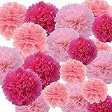 """ofoen Tissue Paper pompones flores, 27piezas 8""""10"""" 12""""para colgar papel pompones Linternas de papel para boda fiesta hogar decoraciones colgantes hechos a mano Multi colores"""