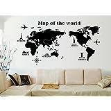 """ufengke® """"Vuelta Al Mundo Mapa del Mundo Pegatinas de Pared, Sala de Estar Dormitorio Removible Etiquetas de la Pared/Murales"""