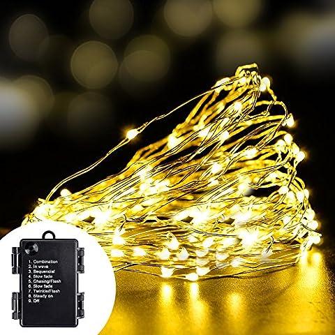 Volador 8 Mode Fil de cuivre Lumière cordes, 33ft / 10m 100 LED flexible Fil de cuivre Starry Light cordes, Battery Operated Lumière étanche pour extérieur, jardins, maisons, Patios, Fête de Noël - Blanc Chaud