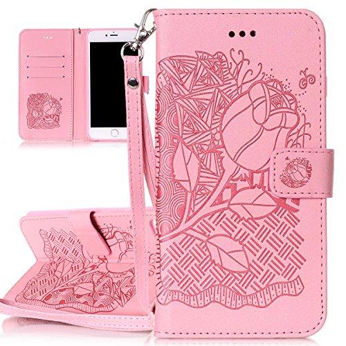 Custodia per Apple iPhone 7 Plus, ISAKEN iPhone 7 Plus Flip Cover con Strap, Elegante Sbalzato Embossed Design in Pelle Sintetica Ecopelle PU Case Cover Protettiva Flip Portafoglio Case Cover Protezio cranio:rosa