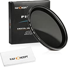 K&F Concept 77mm Slim Variable ND Neutral Density Adjustable Fader ND2 to ND400 Lens Filter + Microfiber Cleaning Cloth for Canon 6D 5D Mark II 5D Mark III for Nikon D610 D700 D800 DSLR Cameras