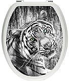 Pixxprint schöner neugieriger Tiger schwarz/weiß als Toilettendeckel Aufkleber, WC, Klodeckel-Maße: 32x40 cm, Gläzendes Material Toilettendeckelaufkleber, Vinyl, bunt, 40 x 32 x 0.02 cm