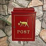 CS Weiße rote Briefkasten-Landhaus-im Freienwand-hängenden wasserdichten Zeitschriften-Zeitungs-Kasten-Gemeinschaftsmeinungs-Briefkasten ( Color : Red )