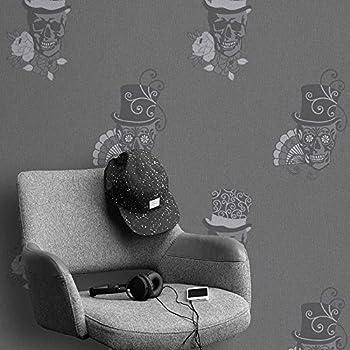 Rasch Sugar Skull Pattern Wallpaper Rose Flower Motif Metallic Glitter 308938