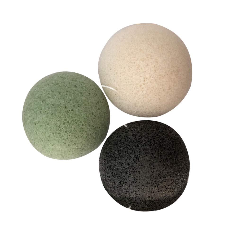 Lurrose 3pcs esponjas de Konjac, esponjas de la limpieza de la cara, carbón de bambú activado, negro blanco, verde
