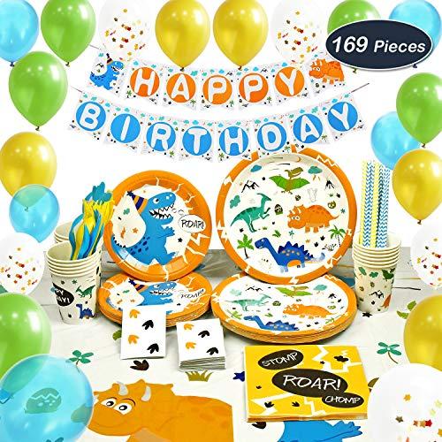 WERNNSAI Dinosaurier Partyzubehör Set - Dinosaurie Party Dekoration für Jungs Kinder Geburtstag Besteckbeutel Tischtuch Servietten Teller Tassen Utensilien Banner & Ballons 16 Gäste 169 Stück