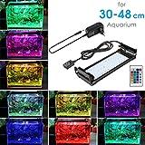 BELLALICHT Aquarium LED Beleuchtung, Aquariumbeleuchtung Lampe aus Aluminium 16 Farben Bunt mit Fernbedienung 7W Weiß Blau Licht mit Verstellbarer Halterung für 30cm-45cm Aquarium