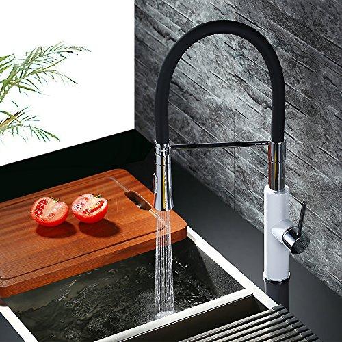 Homelody – Küchenarmatur mit hohem Auslauf, 360° drehbar, herausziehbar, Weiß-Chrom - 5