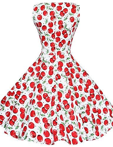 PU&PU Robe Aux femmes Grandes Tailles / Vintage / Soirée / Travail / Décontracté , Imprimé Bateau Mi-long Coton black-2xl