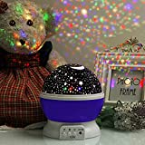 #2: Nyrwana Night Light Lamp, Sky Moon Star Projector ,360 Degree Rotation , 4 LED Bulbs, 3 Mode Light, Color Changing With USB Cable for Kids Baby Bedroom Gifts