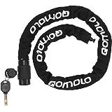 Qomolo Fietsslot, Fietskettingslot met sleutel, Beveiliging Anti-Diefstal Ketting Kabelslot Universeel voor fietsen, Motorfie