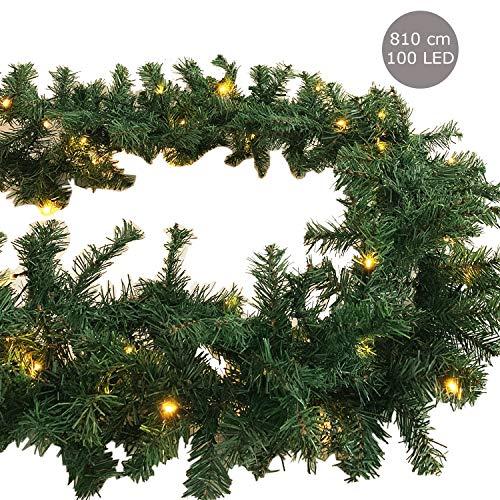 XXL Weihnachtsbeleuchtung Tannengirlande beleuchtet Girlande 100 LED Lichterkette 810 cm für innen und außen Weihnachten