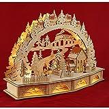 """Wichtelstube Kollektion - Candelero decorativo led, con pedestal, diseño de """"aldea de Navidad"""", incluye transformador"""