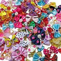 20 lazos Chenkou Craft para perros, con bandas de goma. Mezcla de modelos de estampados y colores variados
