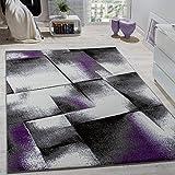 Paco Home Designer Teppich Wohnzimmer Teppiche Kurzflor Meliert Lila Grau Schwarz Creme, Grösse:120x170 cm