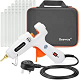Beeway Hot Glue Gun 100W - inc. 30 Pack 11.2mm x 150mm Glue Sticks, Extra Long Copper Nozzle, Compact Storage Carrying Case -