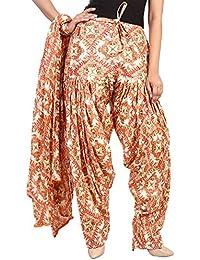 BILOCHI'S Women Printed Solid Cotton Full Patiala Salwar With Dupatta Set(Free Size,Multi Color) - B076ZJDD9N