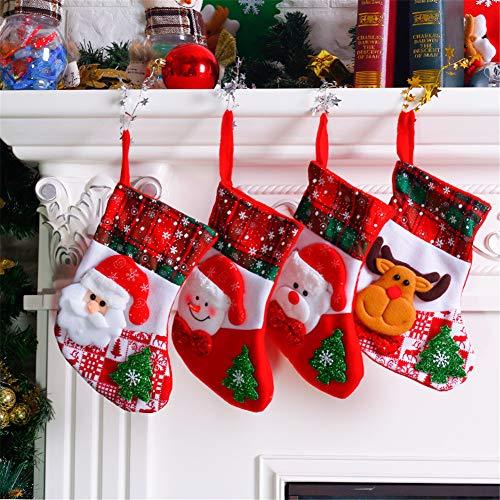 MountRise-Christmas 4packs Weihnachtsstrümpfe, Weihnachtsmann Schneemann-Elk-Bären-Muster Dekoration Weihnachtsbaum Ornament, Filz Rustikale Weihnachtsbaum Dekorationen, Idee für Party, Heim,A -