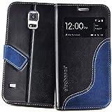 elephones Handyhülle Samsung Galaxy S5 / S5 Neo Hülle Schutzhülle Handytasche Case Cover Schwarz mit Stand Kartenfach